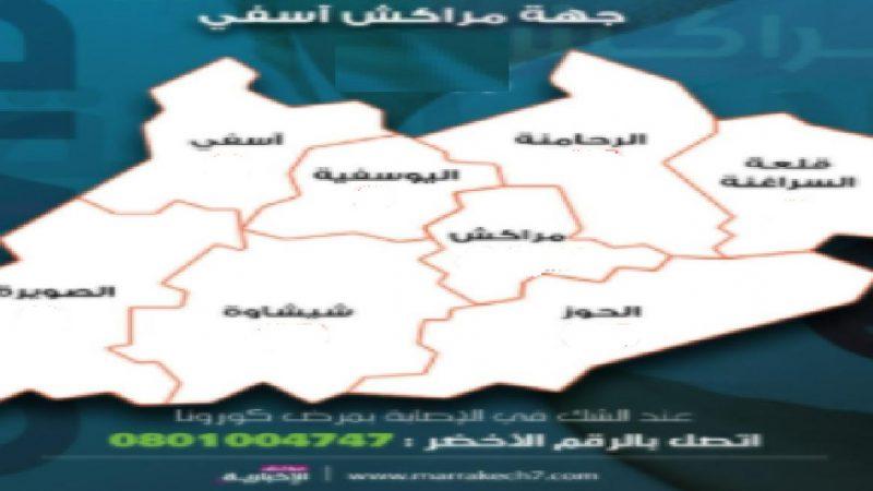 جهة مراكش اسفي تسجل 187 إصابة جديدة تتوزع على جميع الاقاليم