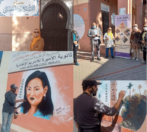 ثانوية لالة مريم تكرم  الفنانة زهراء حنصالي  ضمن فعاليات الورش الفني الإقليمي