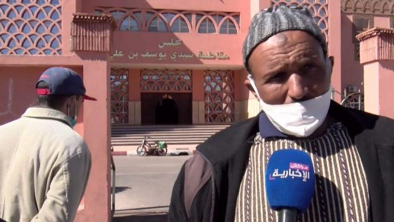 """مشكل """" الواد الحار """" بسوق الدبان يدفع المتضررين منه للاعتصام أمام مجلس مقاطعة سيدي يوسف بن علي"""