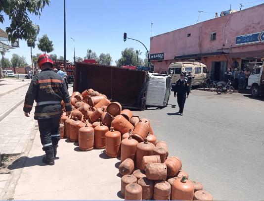 انقلاب شاحنة محملة بقنينات الغاز يستنفر أمن باب اغمات بمراكش